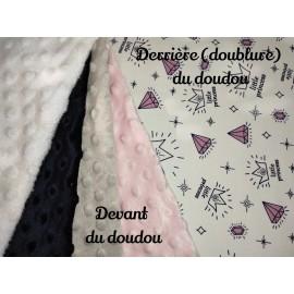 Doudou minky (doublure princesse) avec prénom et motif