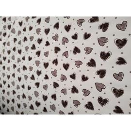 Doudou minky (doublure coeurs crème) avec prénom et motif