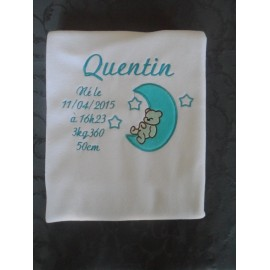 Blanc, broderie turquoise, motif 4