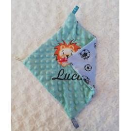 Doudou minky (doublure bleu avec ballons) avec prénom et motif