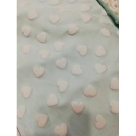 Doudou minky (doublure coeur menthe) avec prénom et motif