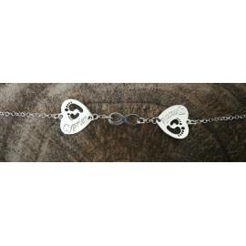 Bracelet double coeur gravé et signe infini