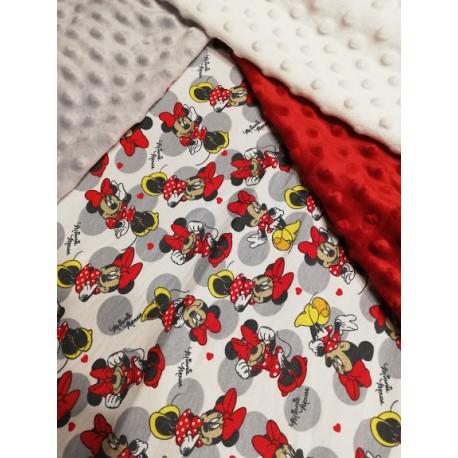 Doudou minky (doublure minnie blanc gris rouge) avec prénom et motif